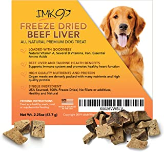 All Natural Beef Liver Treats Freeze Dried - High in Protein and Vitamins - 100% Pure Premium Beef, Grain Free – No Additives, Preservatives, Gluten, or Soy – For Dogs and Puppies – Made in the USA