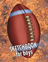 Sketchbook for Boys: Football with Grunge Background Wallpaper Design, 8.5 x 11 Sketch Book, Blank White Paper - 110 Pages for Coloring Drawing Doodling Sketching Art Creativity