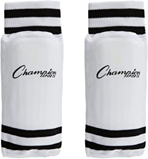 Champion Sports Youth Sock Style Soccer Shinguards - Ages 6-Medium - White with Black Stripes