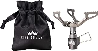 KING SUMMIT Ultralight Backpacking, Camping, Hiking, and Travel Stove | Premium Outdoor Backpacker Portable Stove | Durable Titanium Cosntruction | Ultra Light Carry Bag Included