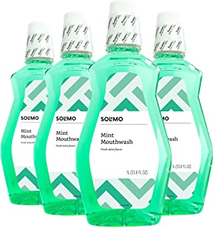Amazon Brand - Solimo Mint Mouthwash, Fresh Mint, 1 Liter (Pack of 4)