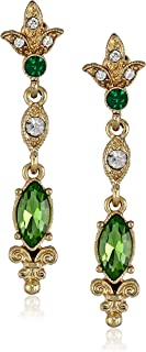 """Downton Abbey""""Jeweled Heirlooms"""" Gold-Tone Belle Epoch Simulated-Emerald Drop Earrings"""