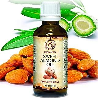 Sweet Almond Oil 3.4oz - Prunus Amygdalus Dulcis Oil - Italy - Glass Bottle - Best Care Oil for Skin - Hair - Body - Personal Care