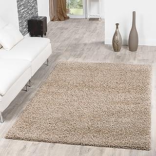 comprar comparacion T&T Design Shaggy - Alfombra para salón, diferentes precios, varios colores, beige, 140 x 200 cm