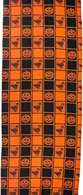 """DII 14x72"""" Cotton Table Runner, Black & Orange Check Plaid with Cat & Jack O' Lantern - Perfect for Halloween, Dinner Parties"""