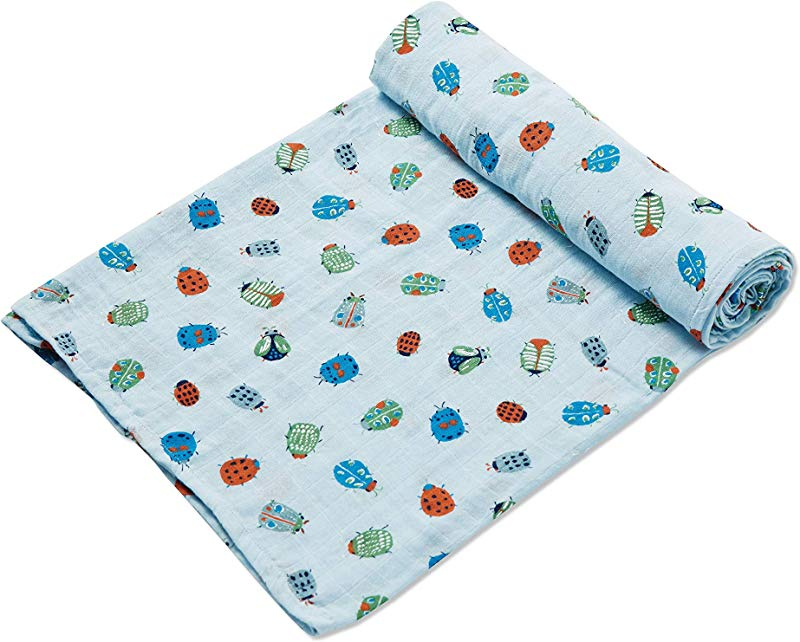 Angel Dear Luxurious Soft Swaddle Baby Blanket Lovely Bugs Large 47x47
