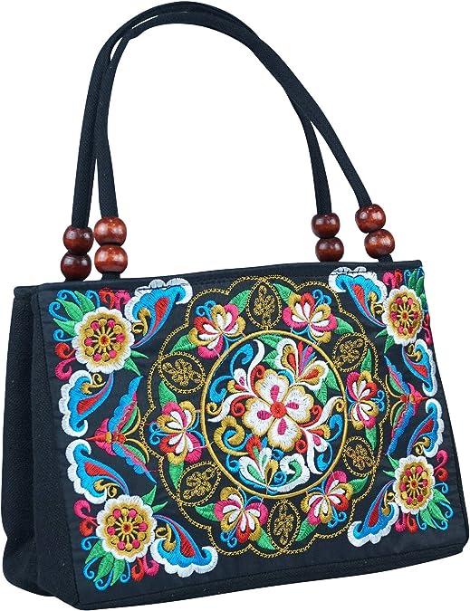 Baosity Womens Ethnic One Blue Peony Embroidery Zipper Handbag ...