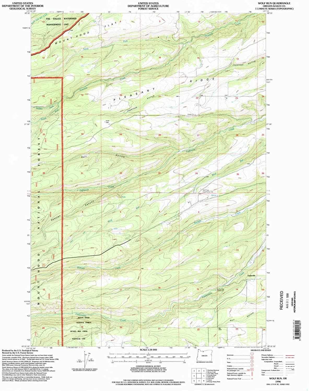 Wolf Run OR topo map, 1 24000 Scale, 7.5 X 7.5 Minute, Historical, 1996, Updated 1998, 27 x 22 in