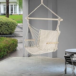 [casa.pro] Silla Sillón Colgante 120 x 100 x 65 cm Silla Colgante Hamaca Balancín Color Crema