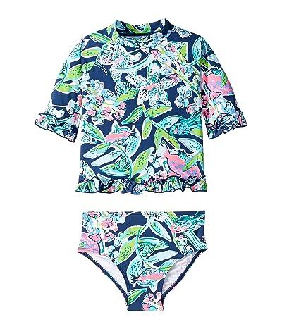Lilly Pulitzer Kids UPF 50+ Clara Rashguard Swimsuit (Toddler/Little Kids/Big Kids) (Deep Sea Navy Sway This Way Swim) Girl