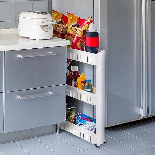 House of Quirk Slim 3-Tier Plastic Side-Storage Rack Shelf with wheels (70 cm x 50 cm x 10cm) - White
