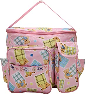 Indi Bargain Nappy Diaper Carry Multipurpose Multi Compartment Bag (Pink)