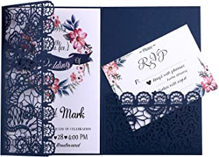 FEIYI 20pcs 3 Folds 5 x 7 inches Laser Cut Lace Flower Pattern Wedding Invitations Cards For Birthday Baby Shower Wedding Rehearsal Dinner Invites Birthday Invites