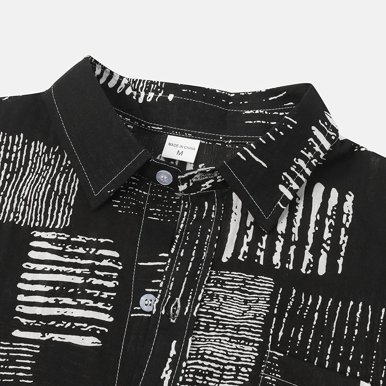 Men's Casual Long Sleeve Shirt Button Down Shirt Cotton Regular fit Dress Shirts Linen Cotton Beach Hawaiian Shirts