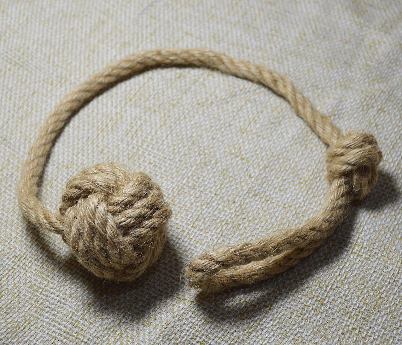 Monkey Fist Knot Shabby Chic White Cotton Rope Monkey Fist Knot Curtain Tie Backs Rustic Beach Tiebacks Nautical Curtain Tie Back