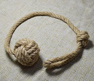 Baihoo Set of 2 Natural Jute Rope Knot Tie-Backs, Drape Holdbacks, Curtain Tiebacks
