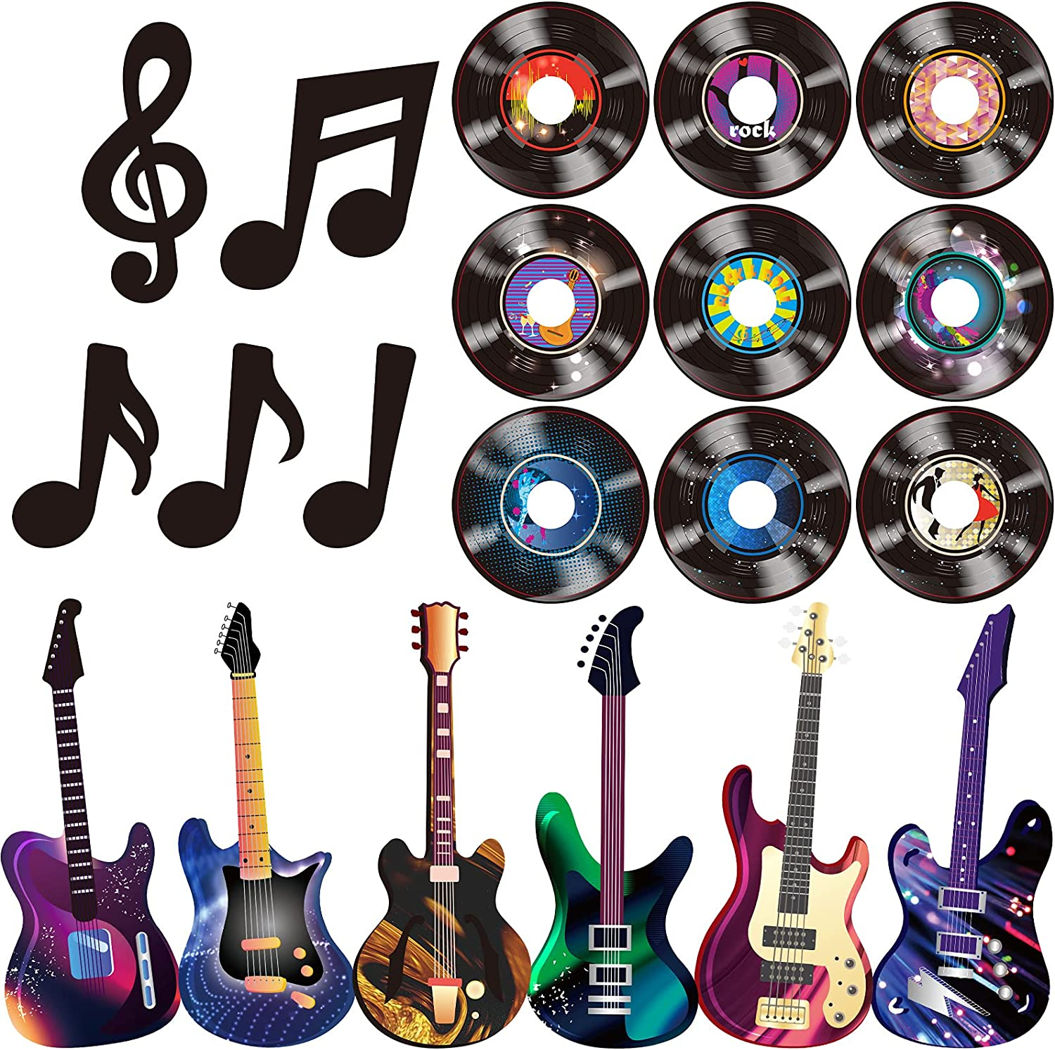 40 Pieces Music Party Decorations Musical Notes Silhouettes Record Cutouts Rock and Roll Record Cutouts Guitar Cutouts 50's Theme Party Baby Shower School Bulletin Board Craft Decor