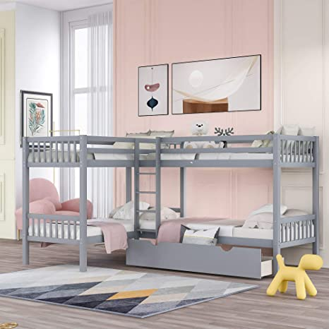 Amazon Com L Shaped Bunk Beds For 4 Twin Over Twin Bunk Beds With Drawers Solid Wood Triple Bunk Bed For Kids Teens Adults Gray Kitchen Dining
