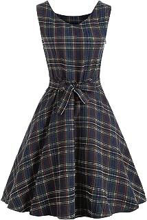 KCatsy Vintage Tartan Mid Swing Dress