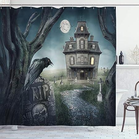 Horror Halloween Night Haunted House Fabric Shower Curtain Set Bathroom Decor