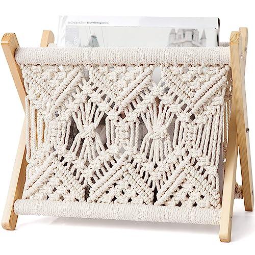 Mkono Macrame Magazine Rack Boho Magazine Holder Storage Standing Basket for Books, Newspapers, Swaddle Blanket, Living Room, Bathroom, Office, Nursery, Home Decor, Small Size, 11.22''L x 7.5''W