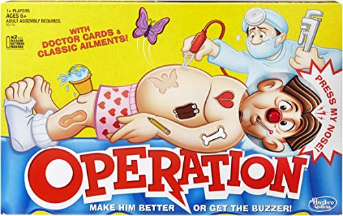 Operation Classic - Operate on Cavity Sam - play the doctor - 1+ players - Electronic Kids Toys & Board Games - Ages 6+