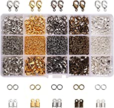PandaHall Elite About 1800 Pcs Jewelry Finding Kits Cord Ends, Lobster Claw Clasps Jump Rings Jewelry Making 5 Colors