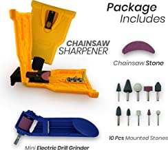 Chainsaw Sharpener KIT | Powersharp Chain Saw Blade or Teeth + Electric Drill Bit Safety File + Sharpening Stone Tool kit. Great for Stihl, Husqvarna, Oregon, Jonsered & more Saws. 14-20 Inch gear.