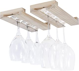 Rustic State Farmhouse Charm Under Cabinet Stemware Wine Glass Rack Unfinished Wood Natural 12 Inch Set of 2