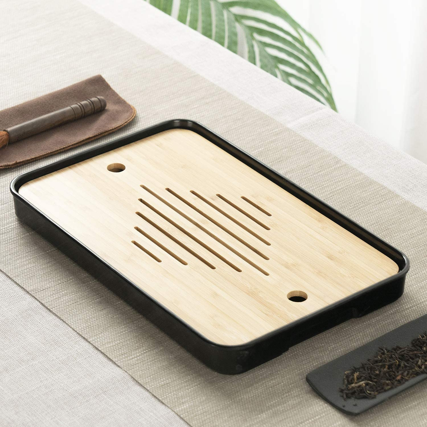 Style 2 Black 14 Inch Bamboo Chinese Gongfu Tea Tray Table Box With Water Storage for Kungfu Tea Set