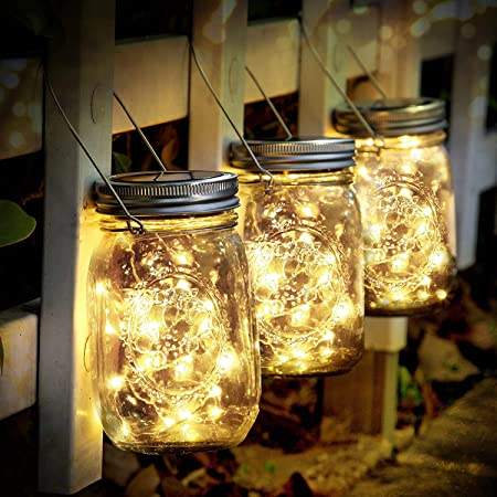 SENYANG Lampada Solare - 3 Pezzi Lanterne da Esterno con 30 LED Impermeabile Luci Solari Giardino Luci del Barattolo per da Interno Giardino Natale Feste Camera da Letto Decorazioni (Bianco Caldo)