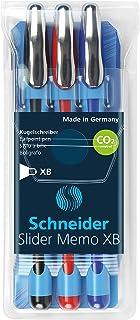Schneider Pen, Slider MEMO XB (Extra Broad), Wallet, Pack of 3, Assorted - Black, Red & Blue (RS150293)