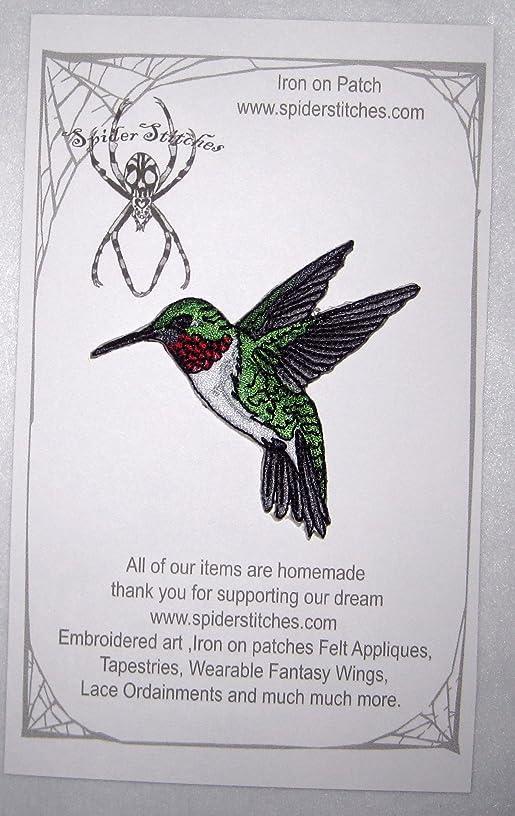 Ruby Throated Hummingbird Bird Iron on Patch Applique