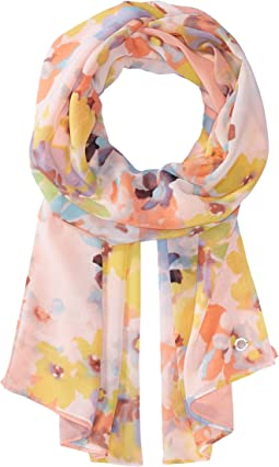 Calvin Klein Ombre Abstract Floral Chiffon Scarf