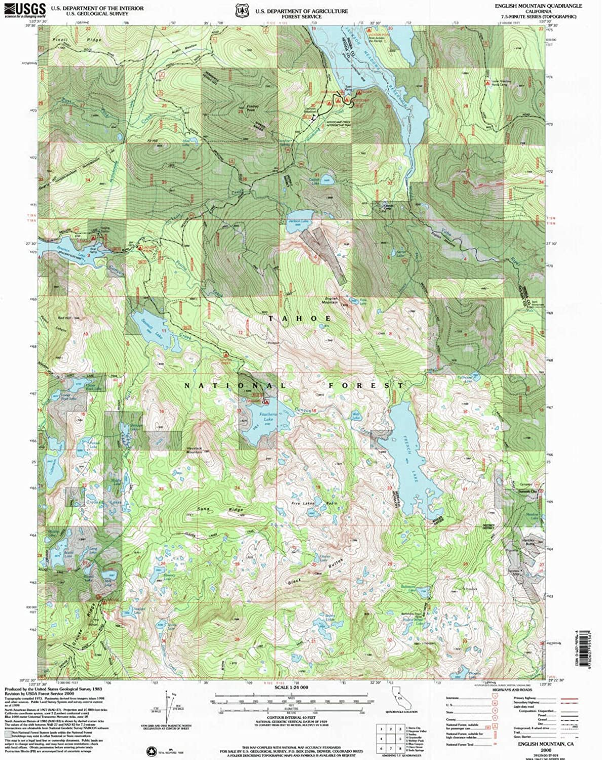 English Mountain CA topo map, 1 24000 Scale, 7.5 X 7.5 Minute, Historical, 2000, Updated 2003, 26.6 x 21.4 in
