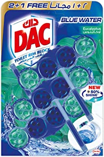 DAC Toilet Rim Block Blue Active - Eucalyptus (150g - Pack of 3 x 50g) Blue Water + Cleanliness, with 50% More Shine, Extr...