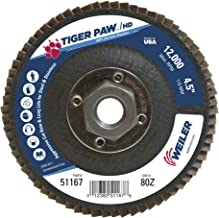 Weiler 51167 Tiger Paw XHD Super High Density Abrasive Flap Disc, Type 27 Flat Style, Phenolic Backing, Zirconia Alumina, 4-1/2