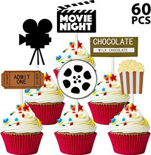 60 Pieces Movie Night Cupcake Toppers Movie Theater Theme Food Picks for Movie Birthday Party