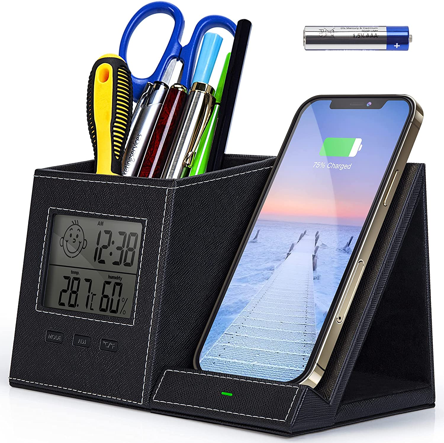 Pen Holder, Pen Organizer for Desk with Wireless Charger, Digital Indoor Thermometer and Humidity Gauge, Desk Organizers and Storage, Multifunctional Home Office Organizers for Desk (Battery Included)