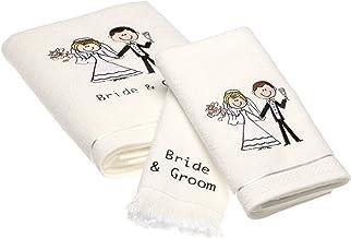 منشفة حمام للعروس والعريس من أفانتي لينينز، منشفة لليد، طقم منشفة أصابع للأصابع، أبيض