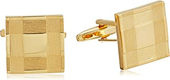 Stacy Adams Mens Square With Jet Acrylic Inlay Open End Cuff Links