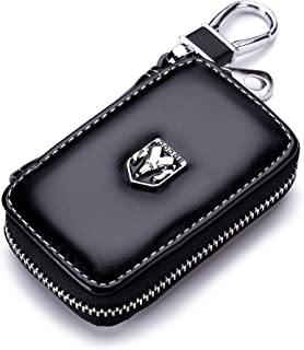 QZS Black Leather Car Key Case Coin Holder Zipper Remote Wallet Key Chain Bag for Dodge
