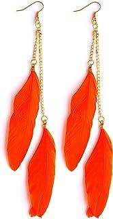AASHYA MAYRO Trendy Golden Chain Orange Feather Earring