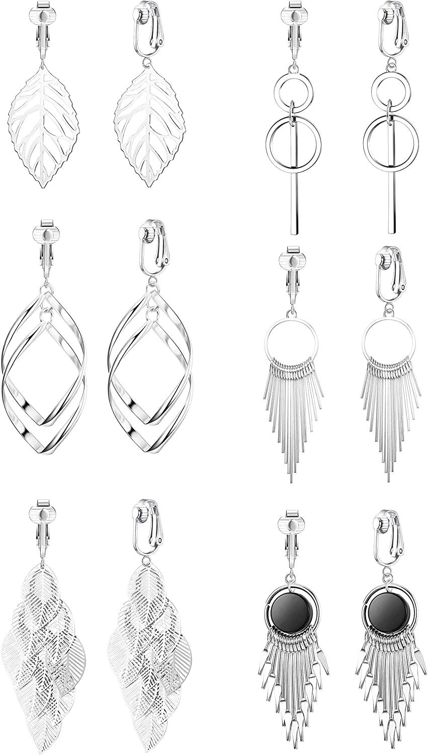 SAILIMUE 6Pairs Clip on Earrings for Some reservation Fashion Women Dangle E Drop Ranking integrated 1st place