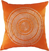 Blue Dolphin Decorative Emboirdery & Beads Floral Throw Pillow Cover 18 Orange