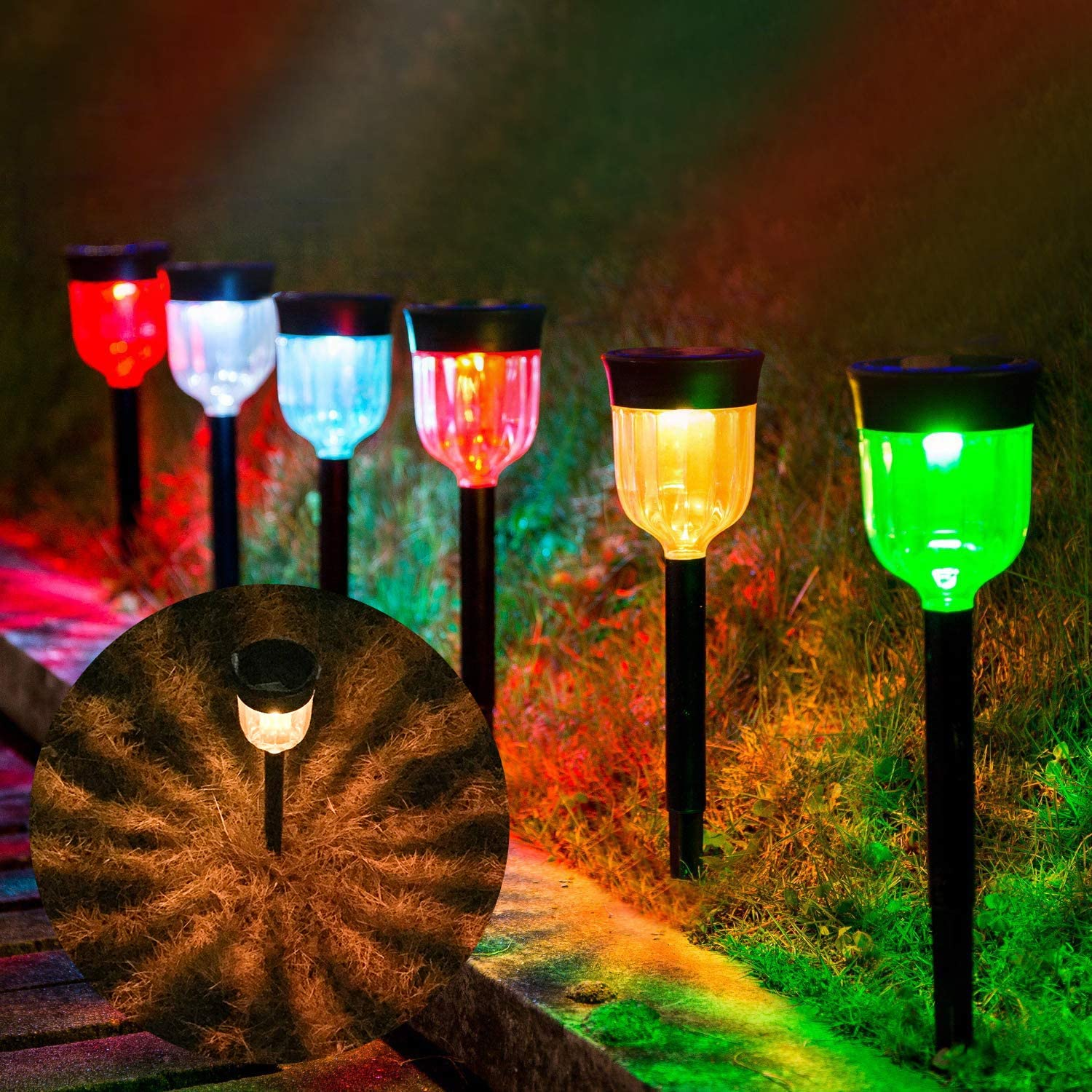 Solar Tucson Mall Detroit Mall Pathway Lights Outdoor 7 Decorative Colo with