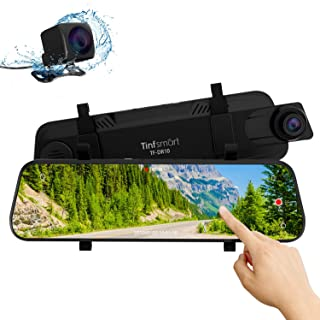 Mirror Dual Dash Cam【Updated Version】 - Tinfsmart 10 Full HD Touch Screen Backup Dash Camera for Car Dual Len 170° 1080P Front & 150° 1080P Rear View Night Version Loop Recording Parking Monitor