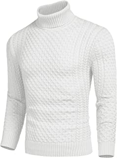 JINIDU Men's Turtleneck Sweater Slim Fit Casual Knitted Twisted Pullover Solid Sweaters