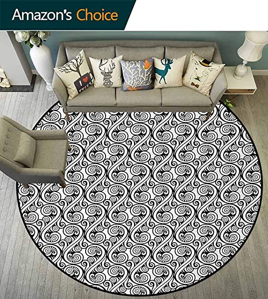 Black And White Non Slip Area Rug Pad Round Ornamental Abstract Outline Swirls Arabesque Nature Inspired Floral Design Protect Floors While Securing Rug Making Vacuuming Diameter 24 Inch Black White