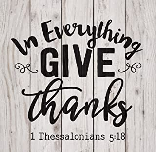 P. Graham Dunn in Everything Give Thanks White Wash 18 x 17 Inch Solid Pine Wood Pallet Wall Plaque Sign